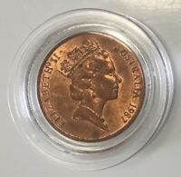 1987.  One Cent Coin, great colour, Unc. In a capsule.