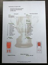 1980-81 League Cup Final (Replay) Liverpool v West Ham United matchsheet