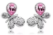 18k White Gold Gp Butterfly Earrings Studs Feature Swarovski Crystals Jewellery