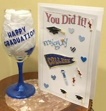 HAPPY GRADUATION College Wine glass With Card Blue Grad Cap For Young Man