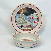 2 PC SET NORITAKE EPOCH TWAS THE NIGHT BEFORE CHRISTMAS CHOP PLATE SERVING BOWL