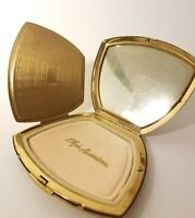 AMERICAN ELGIN ART DECO GAZELLE DEER COMPACT, w/ Mirror & powder pad, Brass