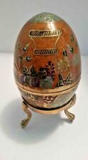 Large Enamel on Brass Egg Trinket Box with Floral & Leaf Decor & Brass Stand