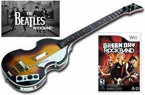 NEW Nintendo Wii Beatles Rock Band Hofner Wireless Bass & RockBand Green Day