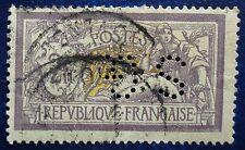 France oblitéré, n°122, 2F Merson violet et jaune, perforé SG, perfin, 1900