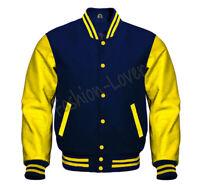 Varsity Bomber Letterman Baseball Navy Wool & Yellow Leather Sleeves jacket