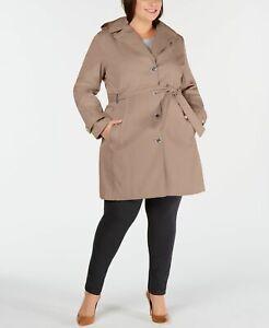 Calvin Klein Women's Coat Pink Mauve Size 3X Plus Trench Belted Rain $149 #076