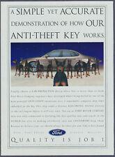 Doberman Pinscher Dog Ford Anti Theft Key Vintage Print Ad 1997