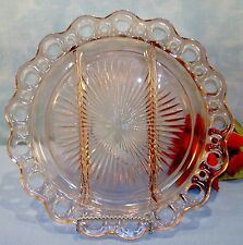 Pink Depression Glass Old Colony Open Lace 3 Part Relish Tray, 10 1/2 in.