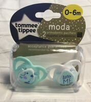 """Tommee Tippee Moda Orthodontic Pacifiers """"Abstract Circle/Little ME"""" 0-6 M"""