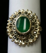 ESTATE JEWELRY .925 STERLING SILVER GREEN STONE AND MARCASITE RING
