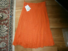 NWT Womens Size PL Petite Large Orange Broomstick Lined Dress Skirt 100% Cotton