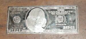 2004 4 Troy Oz Fine Silver, Proof Like Hundred Dollar Bill, Benjamin Franklin