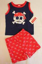NEW Baby Boys 2 pc Set 3 - 6 Months Tank Top Shirt Shorts Outfit Pirate Red Blue