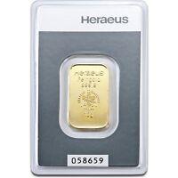 Lingot or 10 grammes or pur 24 carats 999,9/1000 Heraeus gold bar 10 gr