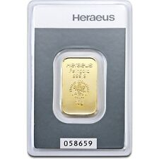 Lingot or 10 grammes or pur 24 carats 999/1000 Heraeus gold bar 10 gr