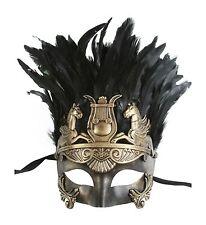 Men's Masquerade Mask Roman Gladiator Pegasus Vintage Gold Feathers FGM003GD
