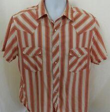 Arizona Men's Shirt Short Sleeve Size Large L White Orange Cotton Pearl Snaps