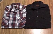 Plains Western Wear Men's Pearl Snap Dress Shirts Lot Of (2) Size Medium M