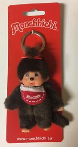 "MONCHHICHI GIRL Keychain Sekiguchi 4"" Red Bib Monkey Collectible Plush Doll Toy"