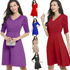 Womens V Neck Skater Solid Pleated Dress Retro Office Work Party Club Dance 8-16