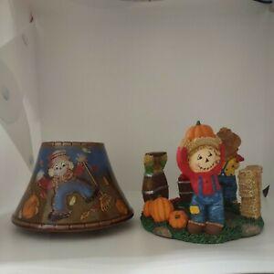 Yankee Candle Scarecrow & Pumpkin  Fall Theme Shade & Base Plate 2012