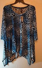 CHELSEA & THEODORE NWT 3X ASYMMETRICAL BLUE MULTI COLOR SCOOP-NECK BLOUSE