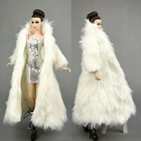 Doll Accessories For Barbie Dolls Parka Dress Winter Fur White Coat Silver Dress