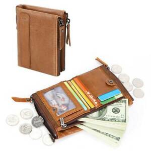 Mens Luxury Soft Genuine Leather RFID Blocking Card Wallet Zip Cash Pocket