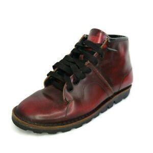 TUK Monkey Burnished Burgundy Leather Lace Up Ankle Boots Mens Size 7 US 40 EU