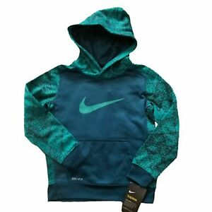 NWT NIKE Therma-Fit Boys Printed Pullover Hoodie Teal/Turquoise SELECT SIZE