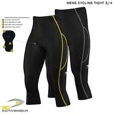 Mens Cycling 3/4 Three Quarter Shorts Pants Bicycle Tights Padded Bike Legging