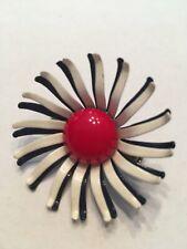 Red White Navy Blue Enamel Pin Flower Starburst Layered Brooch, Vintage 1960's