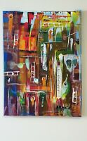 Original Art Acrylic Abstract Painting on Canvas signed by artist