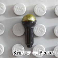 Lego Minifigure BLACK Utensil Microphone with Metallic Gold Top Half Screen