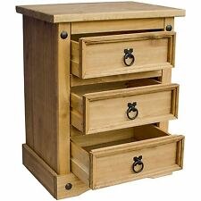 Corona Bedside Chest 3 Drawer Mexican Solid Waxed Pine Storage Uni3t Furniture