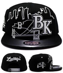Brooklyn New Leader NY City Skyline Bridge Nets Black White Era Snapback Hat Cap