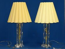 """PAIR of FABULOUS 70's MODERN  LUCITE TWISTED RIBBON TABLE LAMP 35""""H THICK LUCITE"""