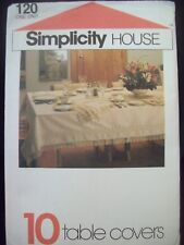 VintagecSimplicity House Pattern 120 Tablecloths Toppers Runner Placemats 1980s
