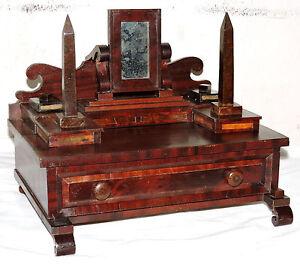"Miniature DRESSER CHEST, jewelry, c1848, Empire, mahogany, burl, obelisk, 13"""