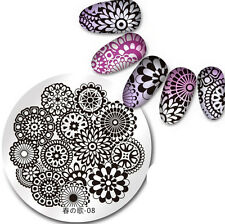 BORN PRETTY Round Nail Art Stamping Image Plate Nail Stencil Floral Design 08