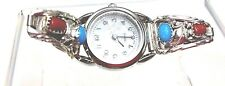 Sterling Silver Ladies Watch tip turquoise coral watch with new battery RB