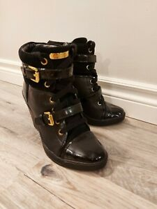 Michael Kors Wedge Black With Gold Booties US Size 6.5!