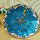 Floral Folding Umbrella For Women Anti UV Sun Rain Wooden Handle Parasols Covers