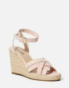 NEW Just Fab Parker Espadrille Cute Womens Size 10 Pink Strap Wedges MK1