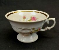 Moss Rose Tea Cup White With Pink Roses and Gold Trim