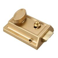 Zinc Cylinder Deadbolt Latch Lock for Night Gate Door Entrance,Gold Finish X3S7
