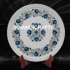 """12"""" Round Marble Wall Plate Marquetry Lapis Lazuli Floral Inlaid Art Home Decor"""