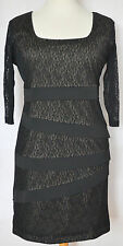 BNWT Latte Italy Black Lace 3/4 Sleeve Stretch Pencil Wiggle Dress 16 - 18 | 50