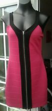 M&S LIMITED COLLECTION CERISE STRAPPY SHORT BODY CONTOUR DRESS - SIZE 10